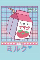 Fresh: Japanese Aesthetic Otaku Milk Drink Vaporwave Anime Cartoon Journal 90s 80s Retro Japan Lover Notebook 120 Pages Bla