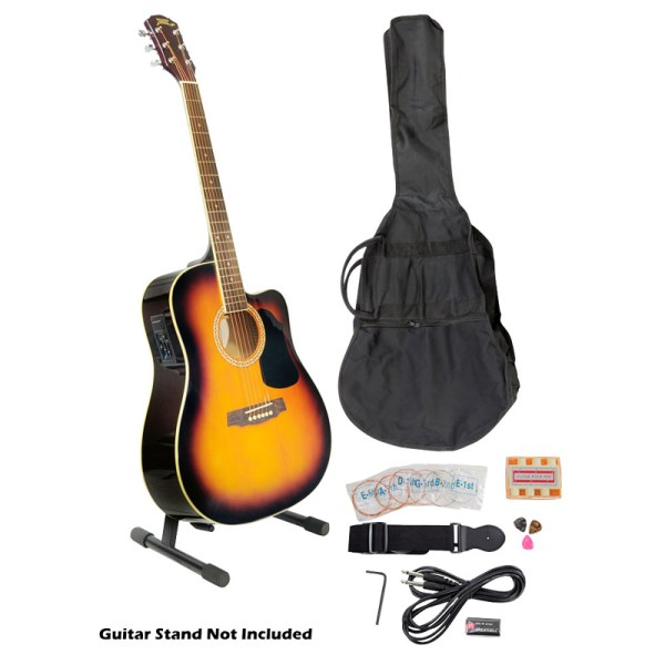 Pyle Pgakt40sb 41' Acoustic-electric Guitar Package With Gig Bag Strap Picks Tuner And