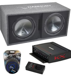 harmony ha rd12 car audio 1200w loaded dual 12 sub box kicker 44kxa12001 amp harmony sub pk14 [ 1000 x 1000 Pixel ]