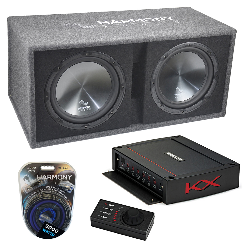 medium resolution of harmony ha rd12 car audio 1200w loaded dual 12 sub box kicker 44kxa12001 amp harmony sub pk14
