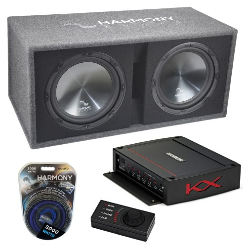small resolution of harmony ha rd12 car audio 1200w loaded dual 12 sub box kicker 44kxa12001 amp harmony sub pk14