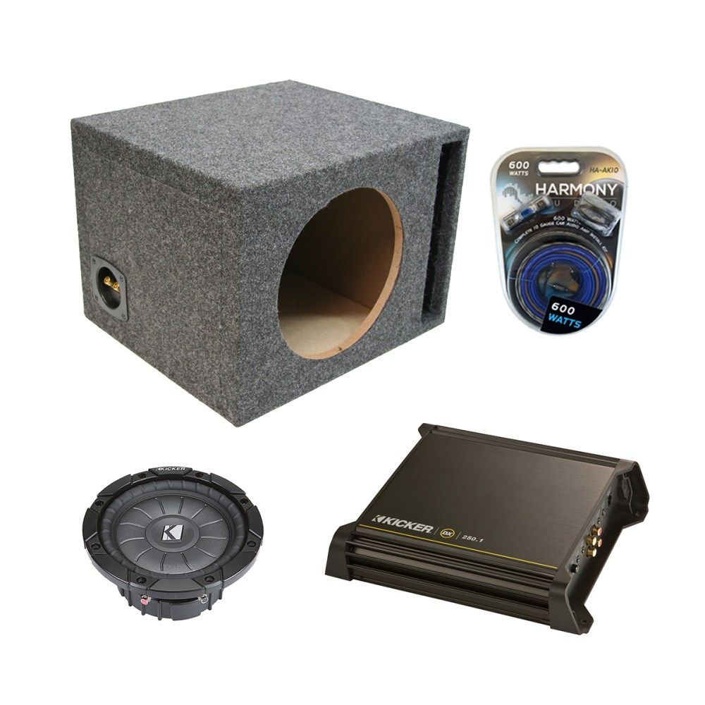 medium resolution of kicker single 10 powered vented cvt10 sub box w dx250 1 amp u0026 10kicker single 10 powered vented cvt10 sub box w dx250 1 amp u0026 10 gauge kit