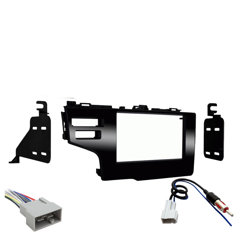 hight resolution of honda fit 2015 2017 double din stereo harness radio install dash kit package new sc2 radiokit2216