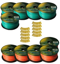 harmony audio primary single conductor 12 gauge power or ground wire 10 rolls 1000 feet green orange for car audio trailer model train remote [ 1500 x 1500 Pixel ]