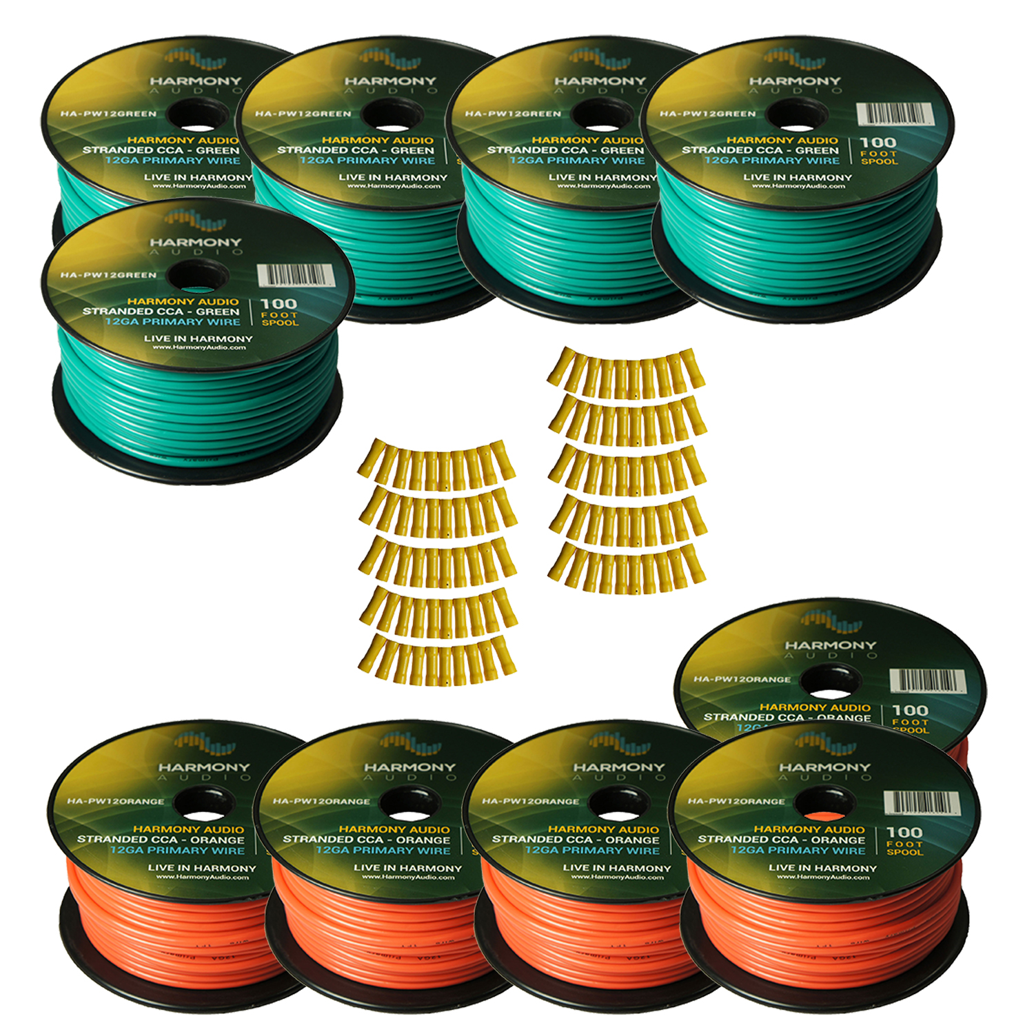 hight resolution of harmony audio primary single conductor 12 gauge power or ground wire 10 rolls 1000 feet green orange for car audio trailer model train remote