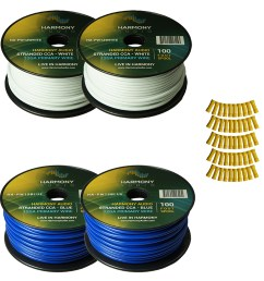 harmony audio primary single conductor 12 gauge power or ground wire 4 rolls 400 feet white blue for car audio trailer model train remote [ 1500 x 1500 Pixel ]