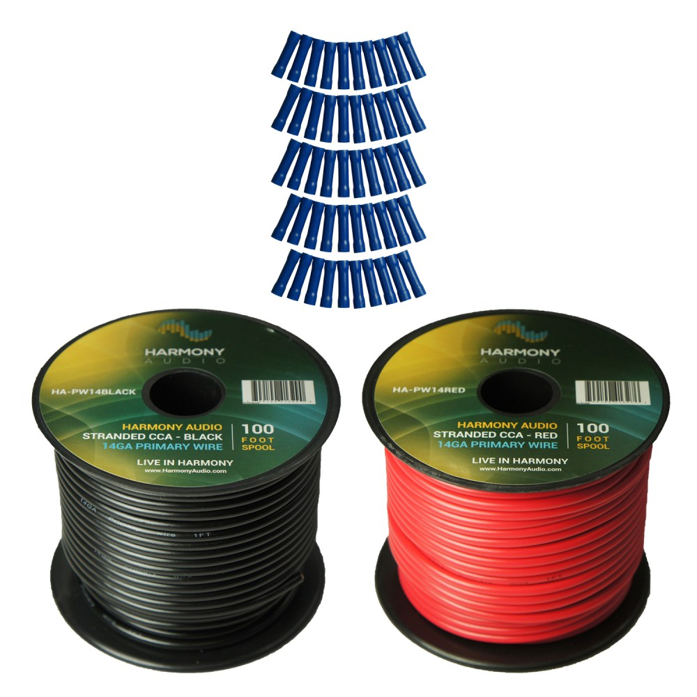 medium resolution of harmony audio primary single conductor 14 gauge power or ground wire 2 rolls 200 feet red black for car audio