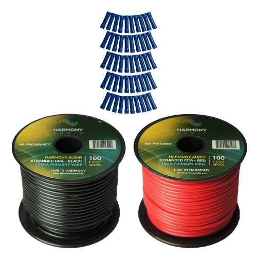 small resolution of harmony audio primary single conductor 14 gauge power or ground wire 2 rolls 200 feet red black for car audio