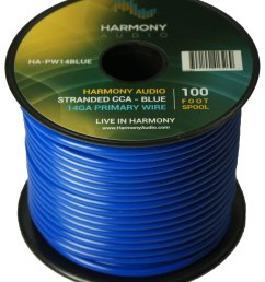harmony audio ha pw14blue primary single conductor 14 gauge blue power or ground wire roll 100 feet cable for car audio trailer model train remote [ 1500 x 1760 Pixel ]