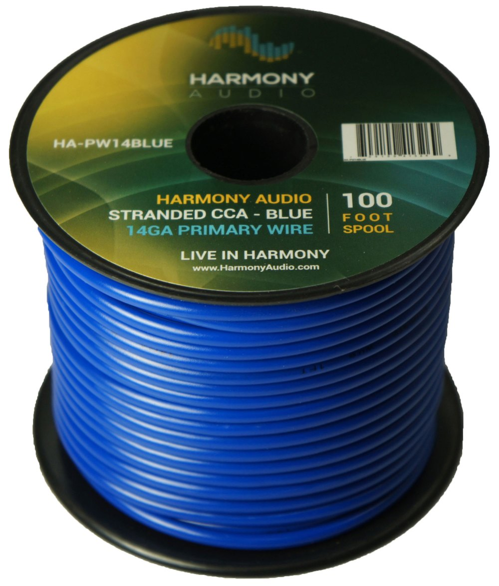 medium resolution of harmony audio ha pw14blue primary single conductor 14 gauge blue power or ground wire roll 100 feet cable for car audio trailer model train remote