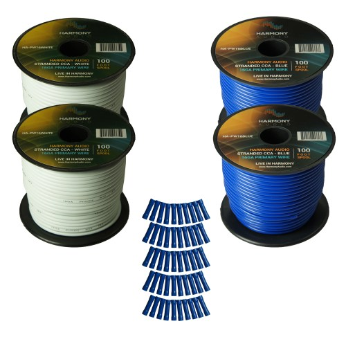 small resolution of harmony audio primary single conductor 16 gauge power or ground wire 4 rolls 400 feet white blue for car audio trailer model train remote