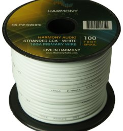 harmony audio ha pw16white primary single conductor 16 gauge white power or ground wire roll 100 feet cable for car audio trailer model train remote [ 1500 x 1728 Pixel ]