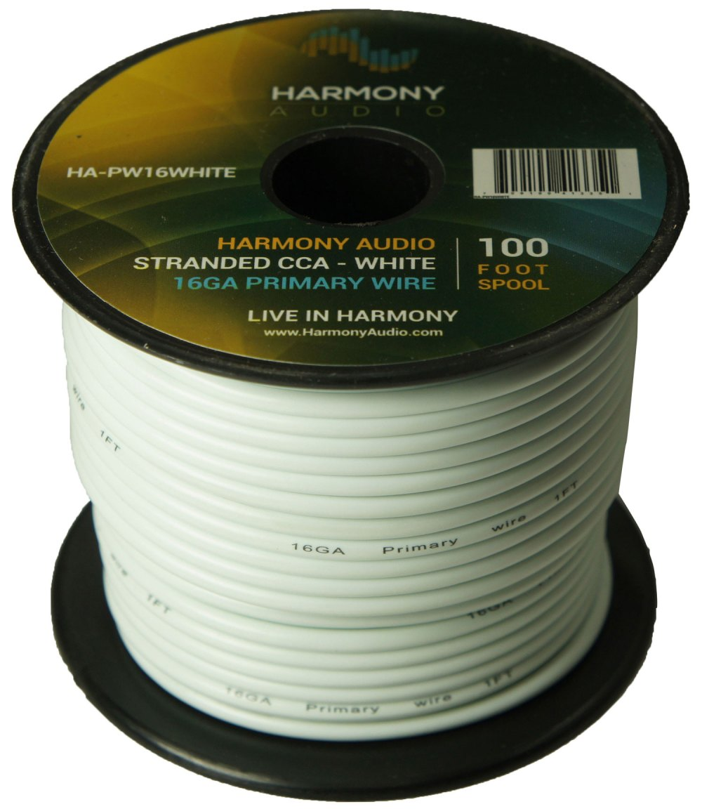 medium resolution of harmony audio ha pw16white primary single conductor 16 gauge white power or ground wire roll 100 feet cable for car audio trailer model train remote