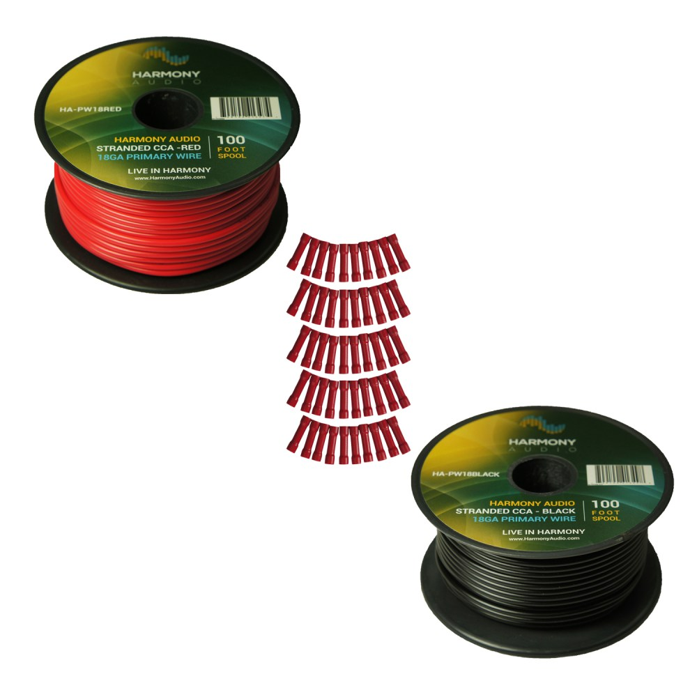 medium resolution of harmony audio primary single conductor 18 gauge power or ground wire 2 rolls 200 feet red black for car audio