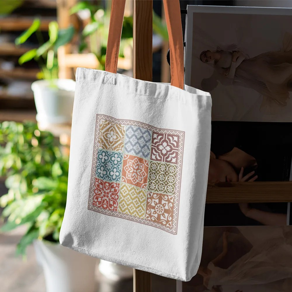 doodle collection turkish tile canvas tote bag
