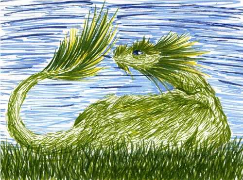 grass dragon by throughawolfseyes