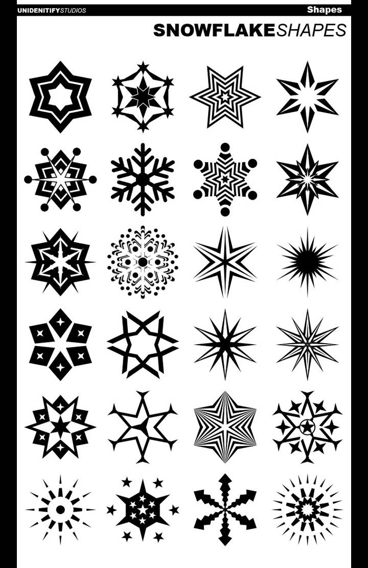 24 Abstract Snowflake Shapes by UnidentifyStudios on