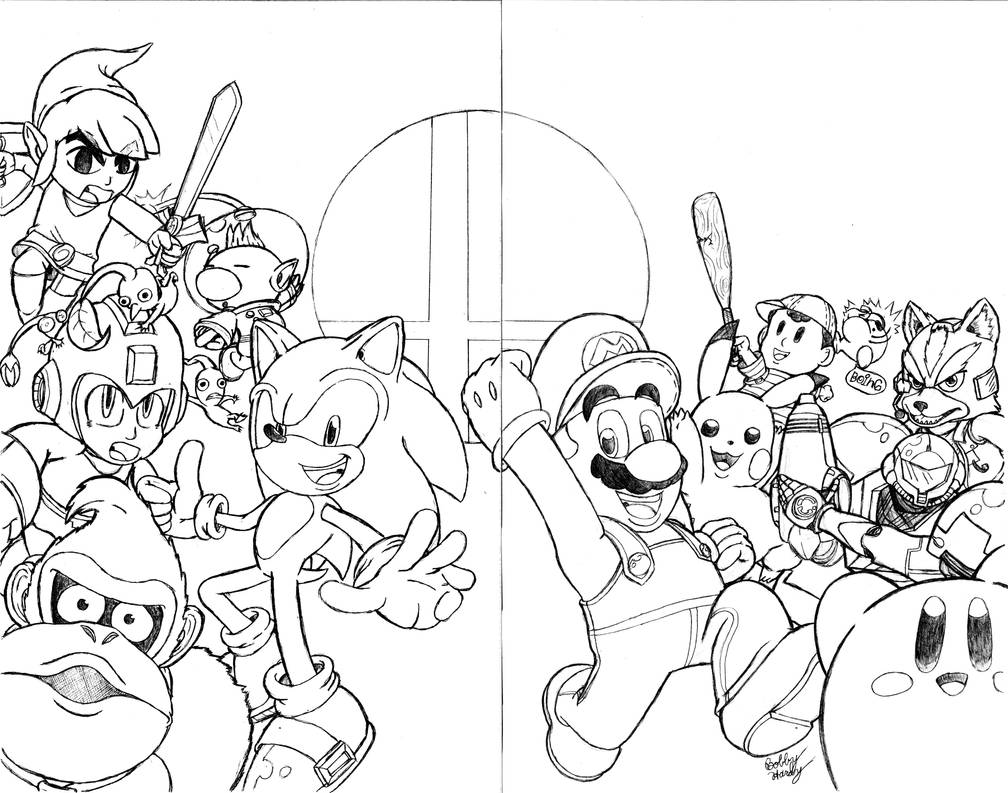 Super Smash Bros. Sketch Cover(2-Page Wrap Around) by
