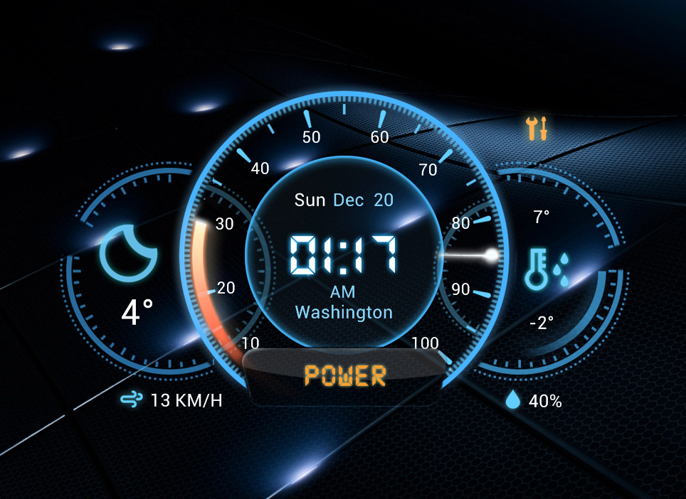 futuristic car dashboard widget