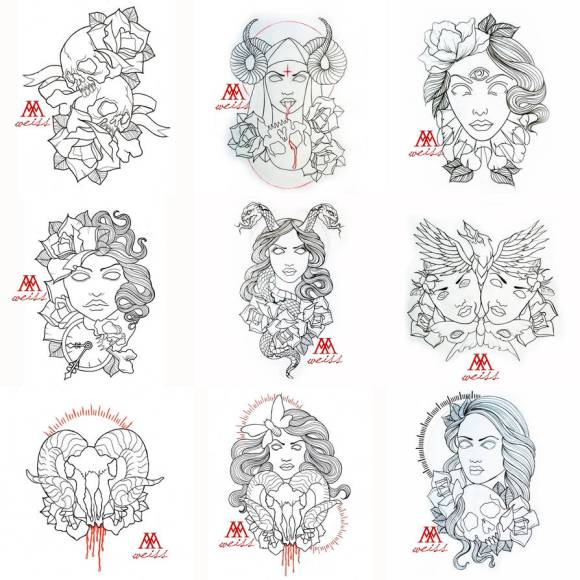 tattoo outlines 9 pcs pack part 1 free download by MWeiss-Art on ...