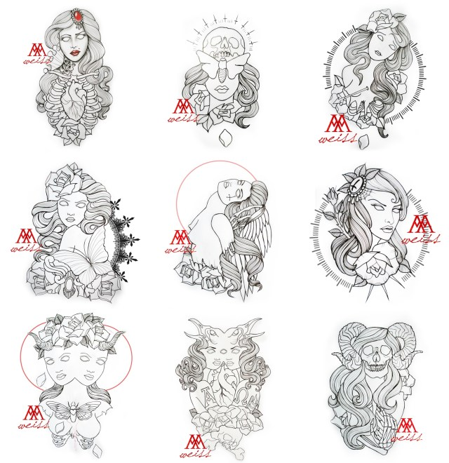 tattoo outlines 9 pcs pack part 3 free download by MWeiss-Art on ...
