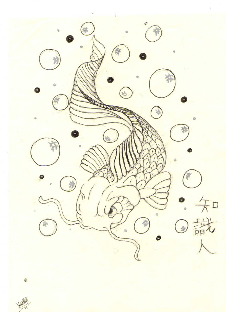 hight resolution of koi fish and bubbles by x pacman x