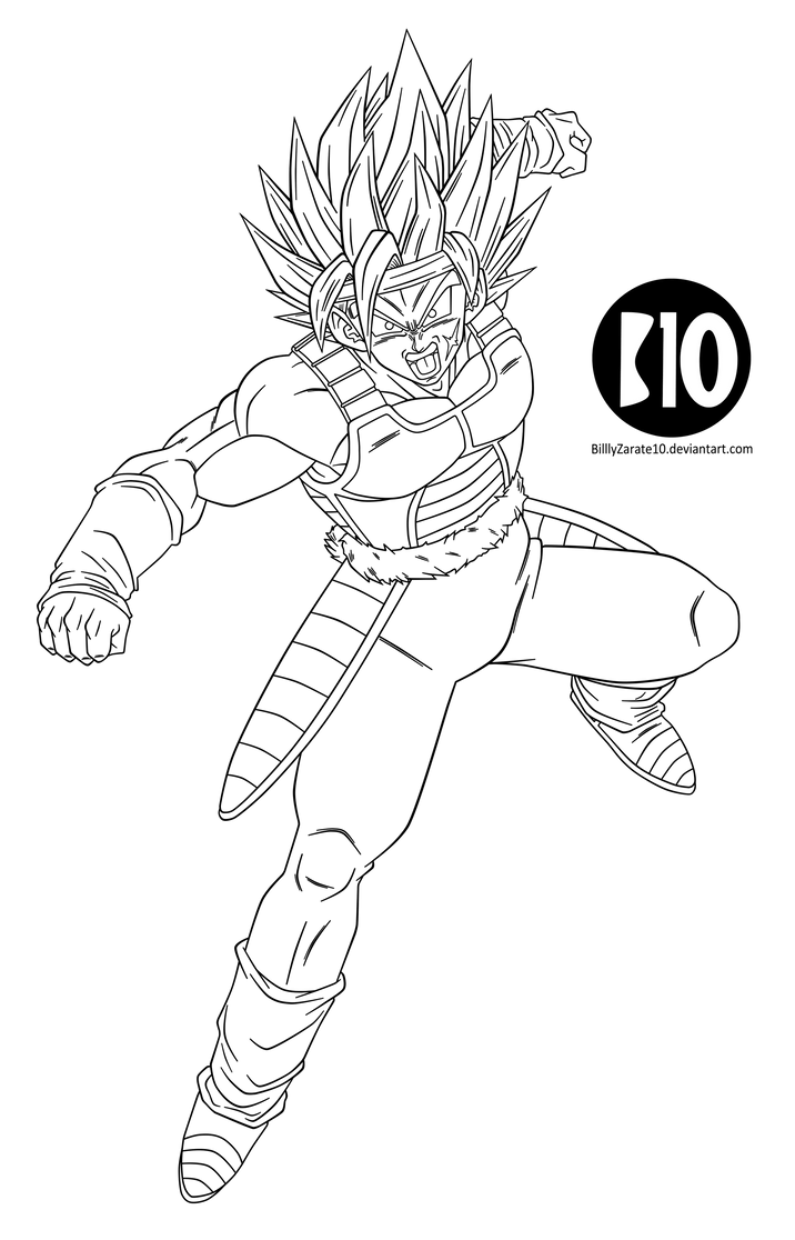 Bardock SSJ2 DBZ Dokkan Battle LineArt by BillyZar on