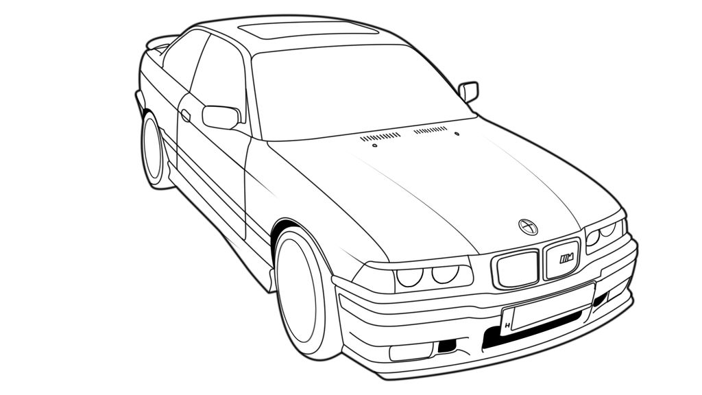 BMW E36 Coupe Outline Drawing by Hirion-35i on DeviantArt