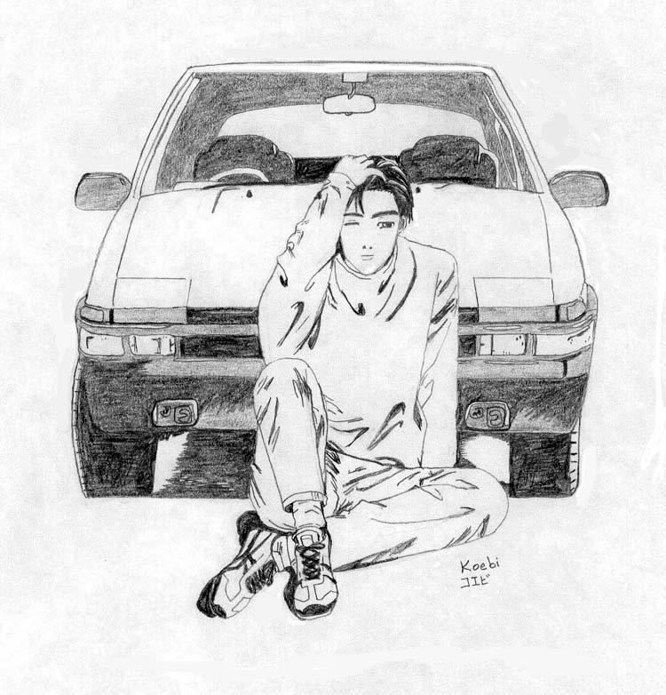 Takumi Fujiwara and AE86 by Koebi on DeviantArt