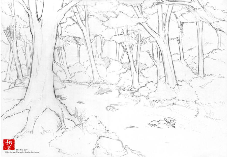 Forest line art by The-Nai on DeviantArt
