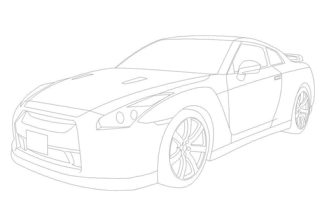 Nissan GTR R35 Lineart by DizzySam on DeviantArt