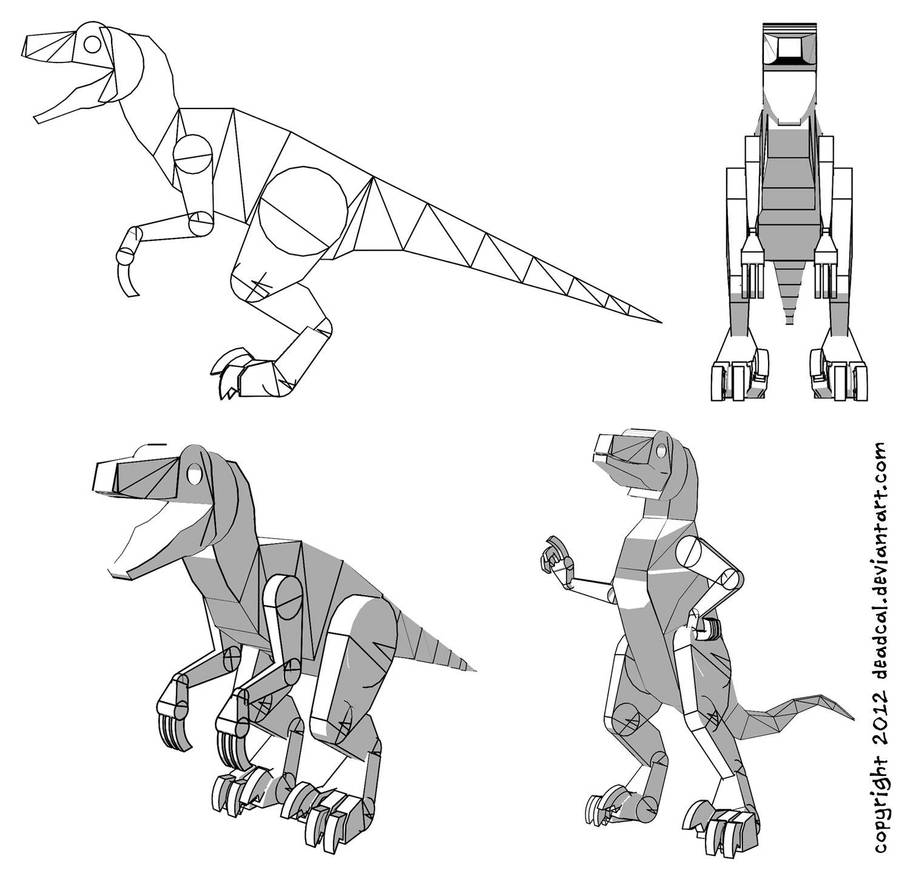 Velociraptor Drawing Template (From A 3D Model) by deadcal