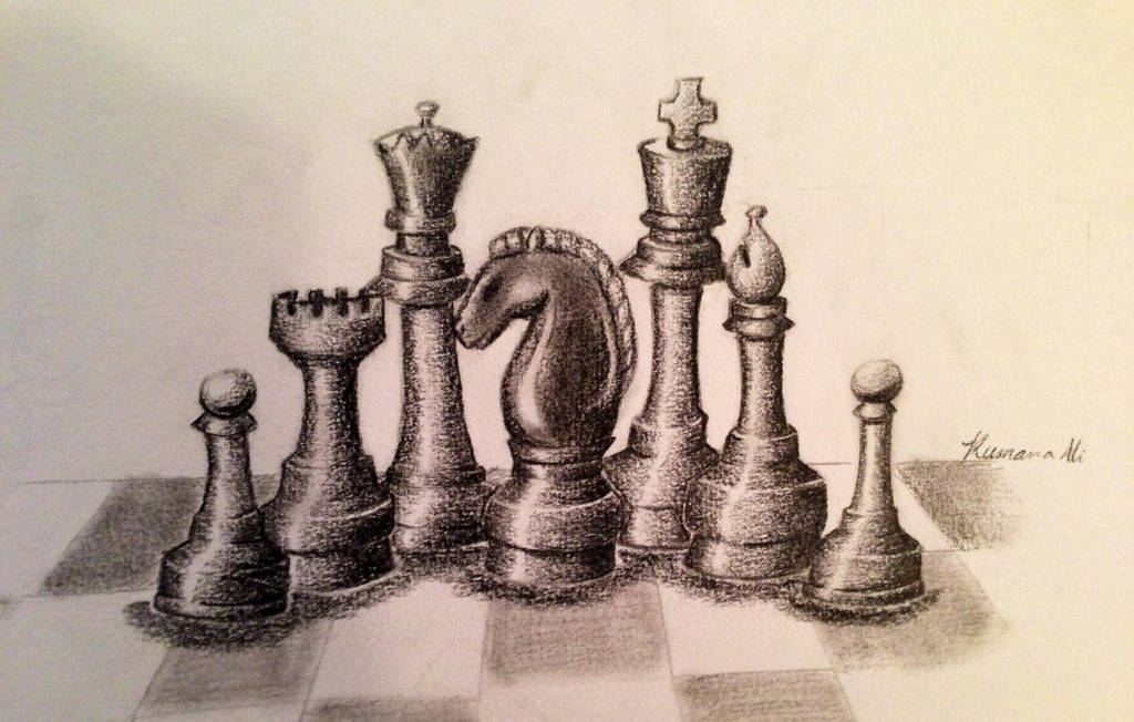 King Piece Pencil Chess Drawing