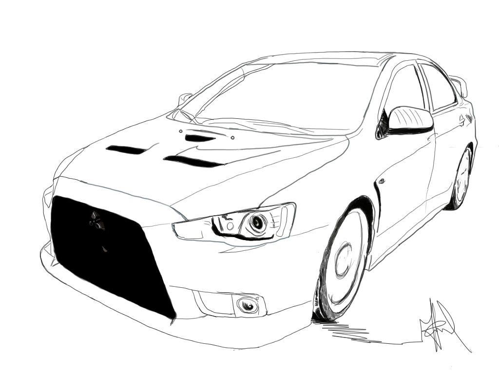 Sketch Evo X by ParadoXbeatboX on DeviantArt