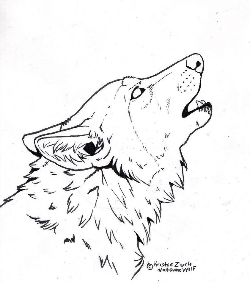 Free to COLOR ONLY howling wolf Line Art by NatsumeWolf on
