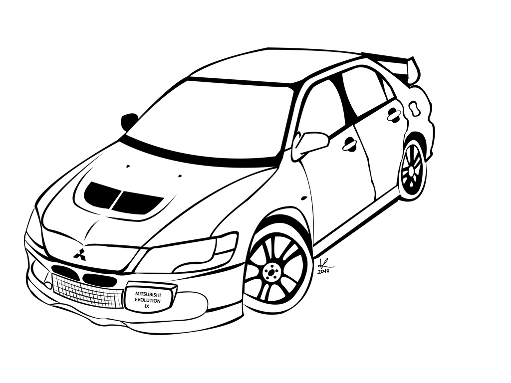 Mitsubishi Lancer Evolution IX lineart by funnyzorro on