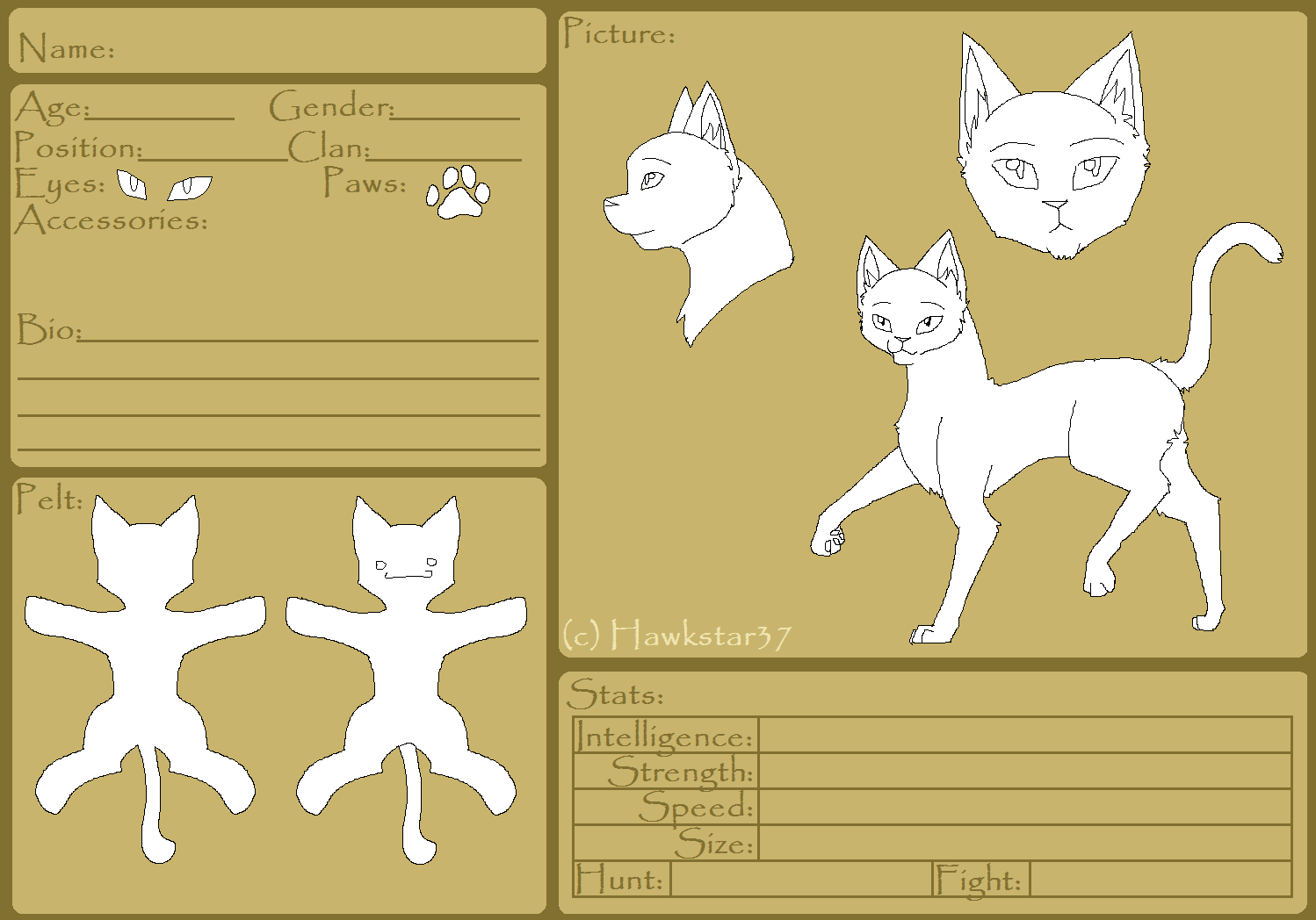 Blank Warriors Reference Sheet Free Template By Hawkstar37 On Deviantart
