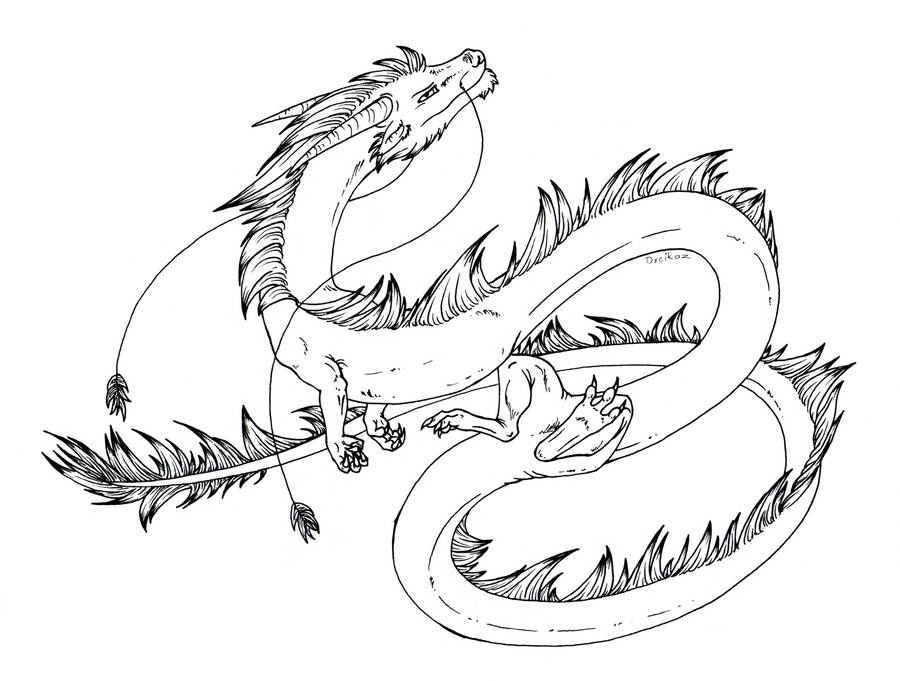 Free lineart: Eastern dragon by Dreikaz on DeviantArt