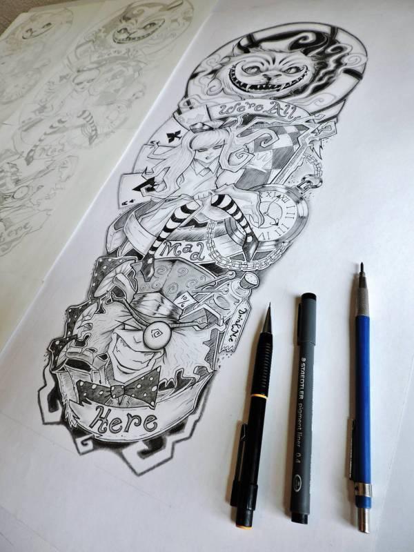 Alice In Wonderland Tattoo Sleeve Er69ck Deviantart