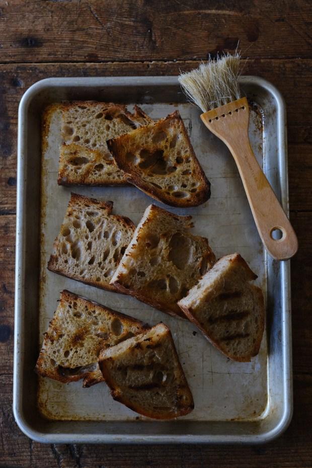 Grilled Sourdough Bread for Making Bruschetta