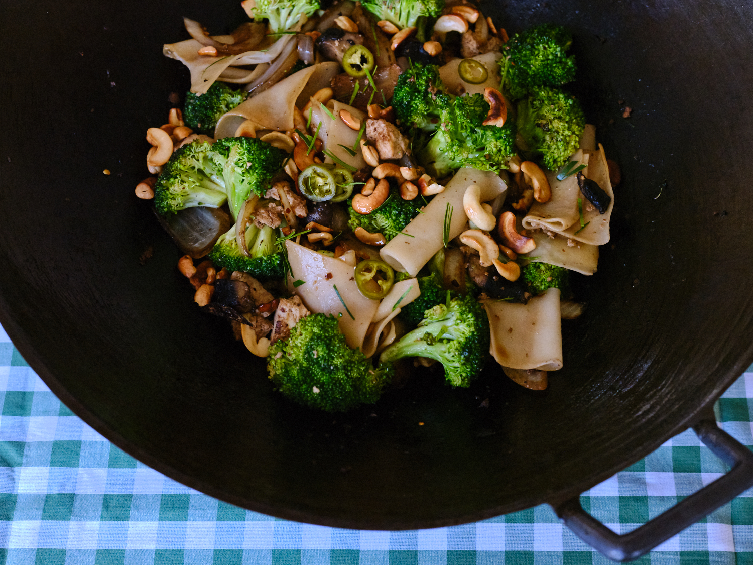 A Favorite Rice Noodle Stir Fry to Make with Whatever Green Veg you Have