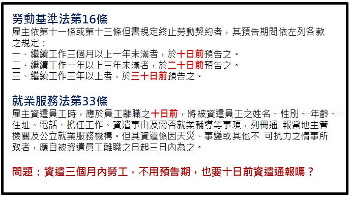 『曹新南專欄』資遣未滿三個月員工。不要預告期。仍要10天前資遣通報嗎?- - 1111社群討論區 - 工作、職場 ...