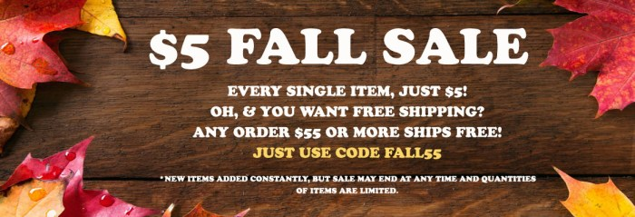 $5 Fall Sale - 13 Deals