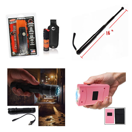 Self Defense Must-Haves - Aluminum Rechargeable LED Flashlight With Built-In Stun Gun, Pepper Spray, Ladies 3 Million Volt Stun Gun With Nylon Pouch w/Belt Loop, and Retractable Metal Baton - Simple, discrete, and effective self defense tools for you and your loved ones! Grab one of each for yourself & anyone you think may need protection! - Starting at $5.00 - 13 Deals