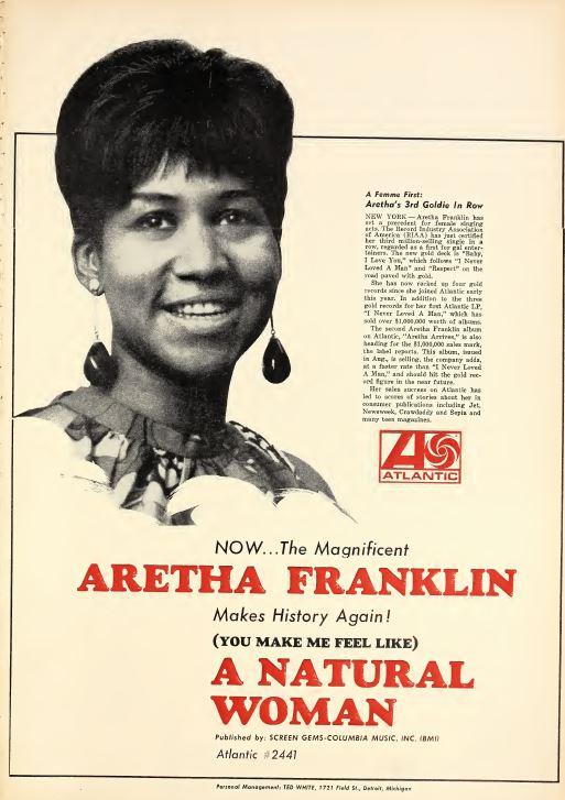 Aretha Franklin A Natural Woman : aretha, franklin, natural, woman, 45cat, Aretha, Franklin, Natural, Woman, Like), Baby,, Atlantic, 45-2441