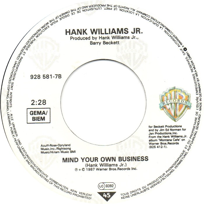 Mind Your Own Business Hank Williams