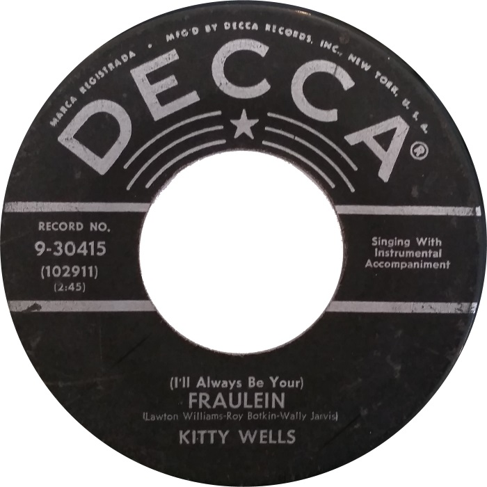 Image result for kitty wells I'll Always Be Your) Fraulein