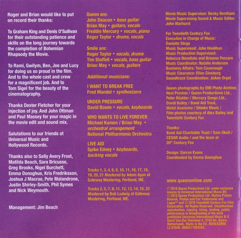 CD Album  Queen  Bohemian Rhapsody  The Original Soundtrack  Virgin  Europe