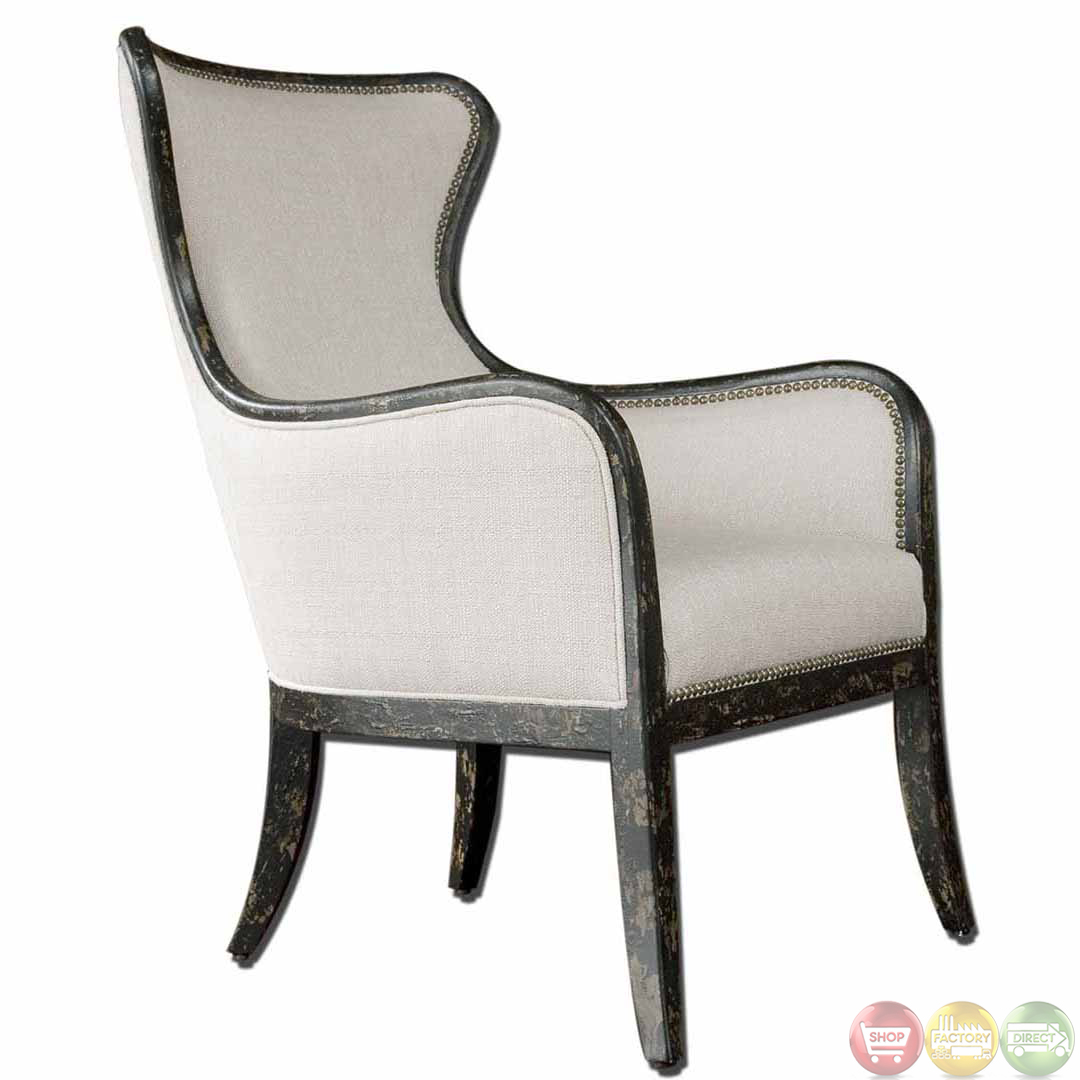 wood frame chair best reclining chairs sandy traditional wing back exposed linen