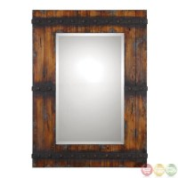 Stockley Country Barn Door Inspired Wood Mirror with ...
